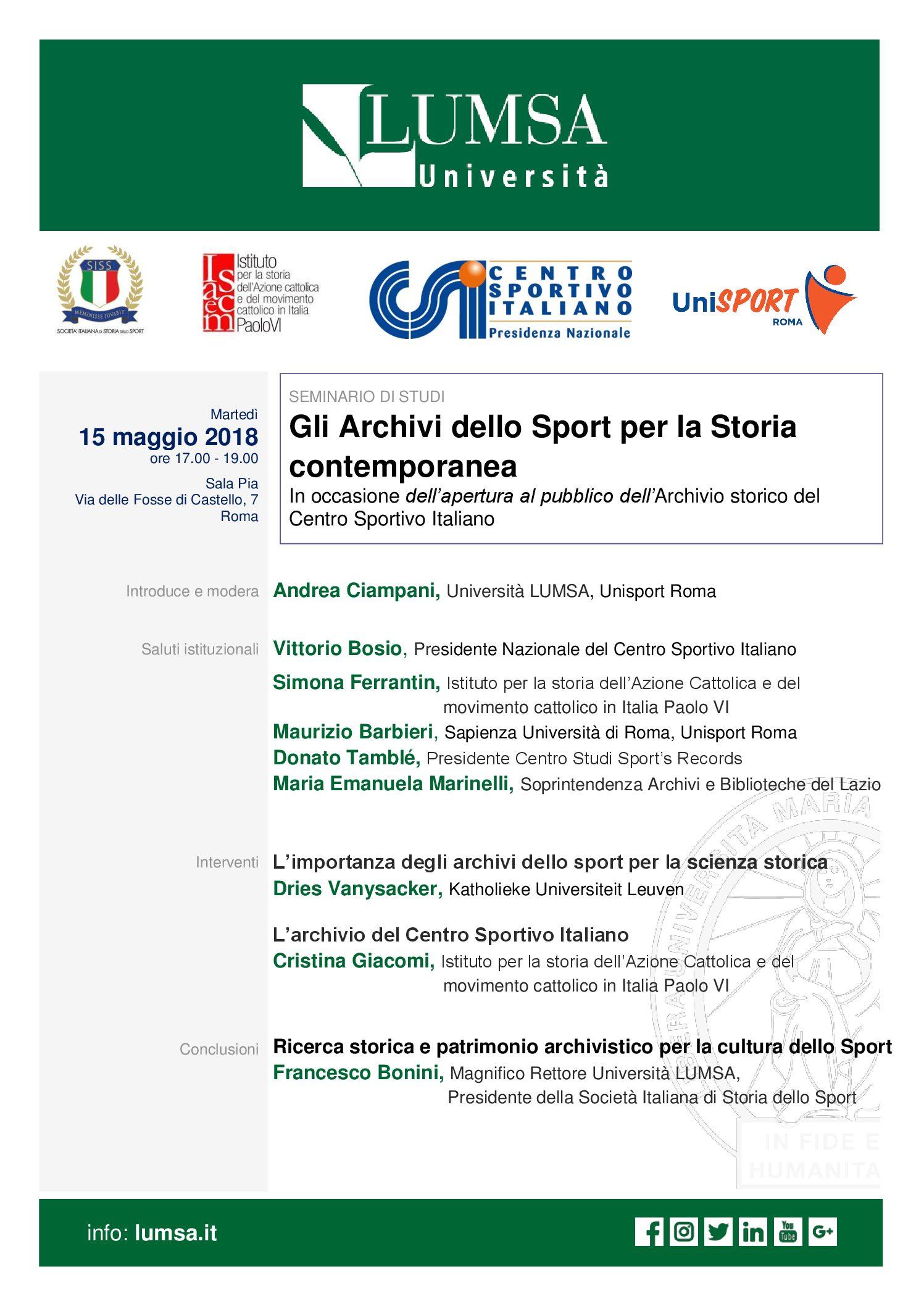 Gli Archivi dello Sport per la Storia contemporanea